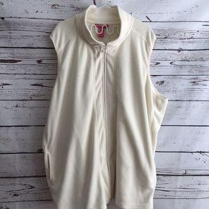 Woman Within Ivory Fleece Vest | Size 3X